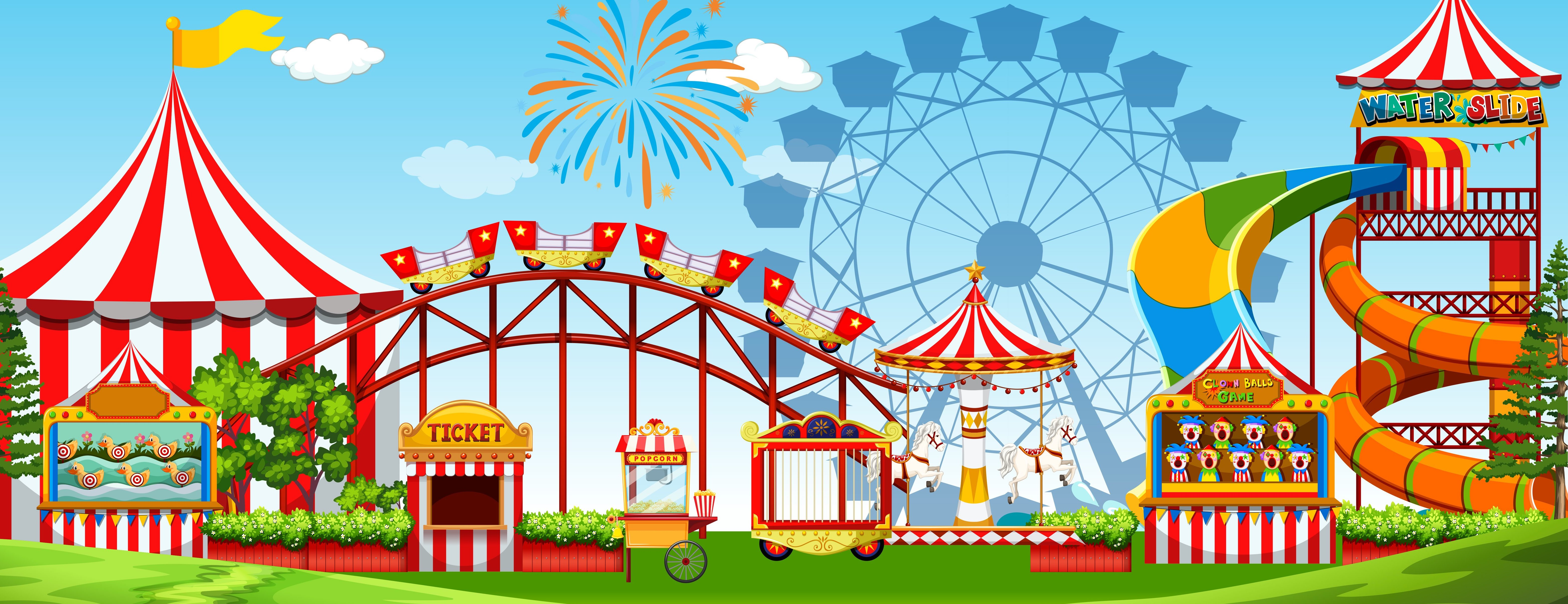 A fun amusement park scene